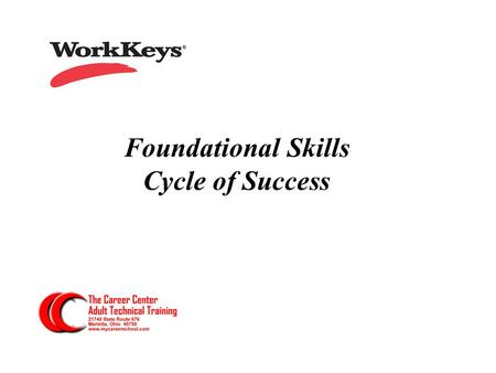 Foundational Skills Cycle of Success. The Common Language in successful workforce strategies...