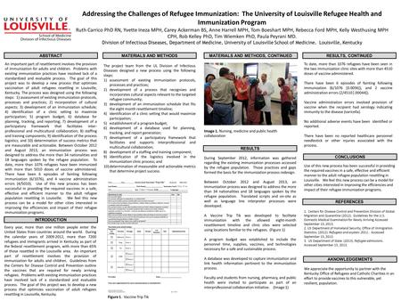 Addressing the Challenges of Refugee Immunization: The University of Louisville Refugee Health and Immunization Program Ruth Carrico PhD RN, Yvette Ineza.