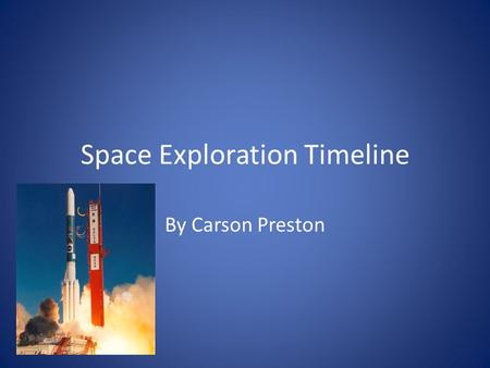 Space Exploration Timeline By Carson Preston. 1900-1979.