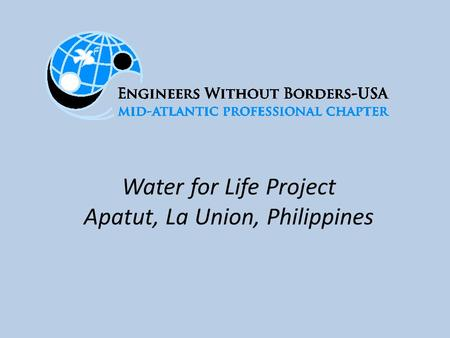 Water for Life Project Apatut, La Union, Philippines