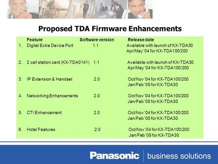 Proposed TDA Firmware Enhancements