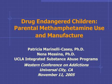 Drug Endangered Children: Parental Methamphetamine Use and Manufacture Patricia Marinelli-Casey, Ph.D. Nena Messina, Ph.D. UCLA Integrated Substance Abuse.