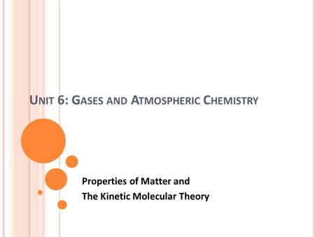 Unit 6: Gases and Atmospheric Chemistry