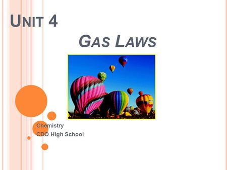 U NIT 4 G AS L AWS Chemistry CDO High School. Important Characteristics of Gases 1) Gases are highly compressible An external force compresses the gas.