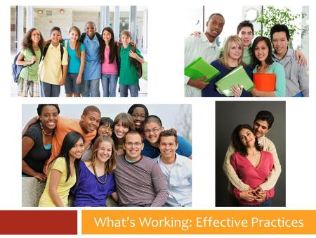 What's Working: Effective Practices. Youth Ministry Practices What impact did involvement in youth ministry have on young people? 1. Deepen my relationship.