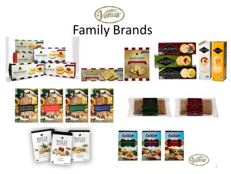 Family Brands 1. About the Venus Family Brands Since 1931, family-owned and operated, Venus Wafers has pioneered healthful crackers and flatbreads to.