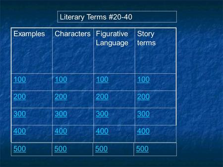 ExamplesCharactersFigurative Language Story terms 100 200 300 400 Literary Terms #20-40 500.