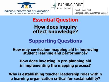 Essential Question How does inquiry effect knowledge? Supporting Questions How may curriculum mapping aid in improving student learning and performance?
