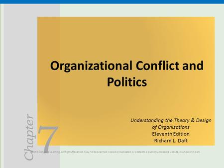 Organizational Conflict and Politics