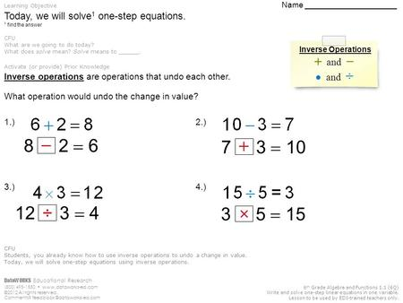 DataWORKS Educational Research (800) 495-1550  ©2012 All rights reserved. Comments? 6 th Grade Algebra and.