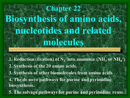 Chapter 22 Biosynthesis of amino acids, nucleotides and related molecules 1. Reduction (fixation) of N 2 into ammonia (NH 3 or NH 4 + ) 2. Synthesis of.