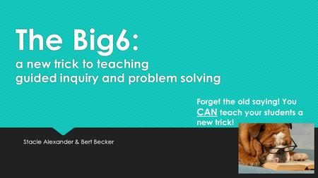 The Big6: a new trick to teaching guided inquiry and problem solving Stacie Alexander & Bert Becker Forget the old saying! You CAN teach your students.