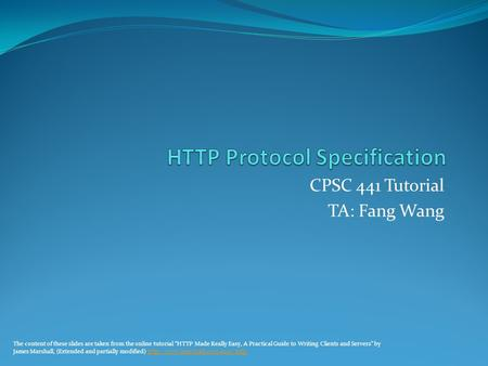 HTTP Protocol Specification