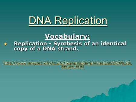 DNA Replication Vocabulary:  Replication - Synthesis of an identical copy of a DNA strand.