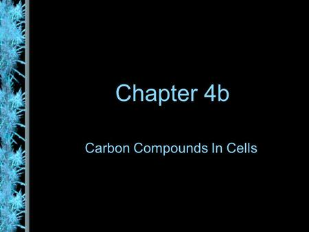 Chapter 4b Carbon Compounds In Cells. Organic Compounds Hydrogen and other elements covalently bonded to carbon Carbohydrates Lipids Proteins Nucleic.