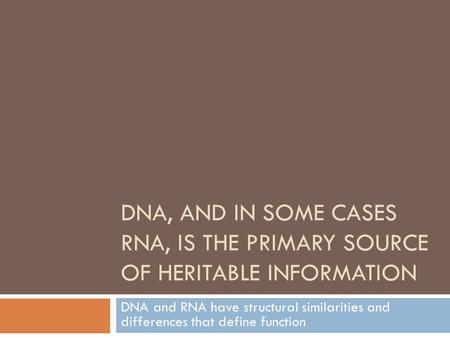 DNA, AND IN SOME CASES RNA, IS THE PRIMARY SOURCE OF HERITABLE INFORMATION DNA and RNA have structural similarities and differences that define function.