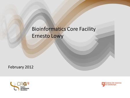 Bioinformatics Core Facility Ernesto Lowy February 2012.