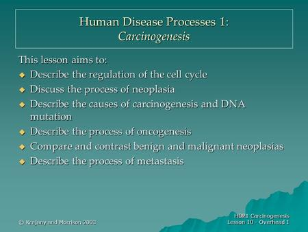 © Krejany and Morrison 2003 HDP1 Carcinogenesis Lesson 10 - Overhead 1 Human Disease Processes 1: Carcinogenesis This lesson aims to:  Describe the regulation.