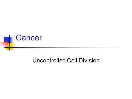 Cancer Uncontrolled Cell Division Causes of Cancer Genetics Spontaneous mutation Stress Chemical carcinogens Radiation Most cancers result from avoidable.