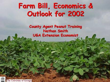 Farm Bill, Economics & Outlook for 2002 County Agent Peanut Training Nathan Smith UGA Extension Economist.