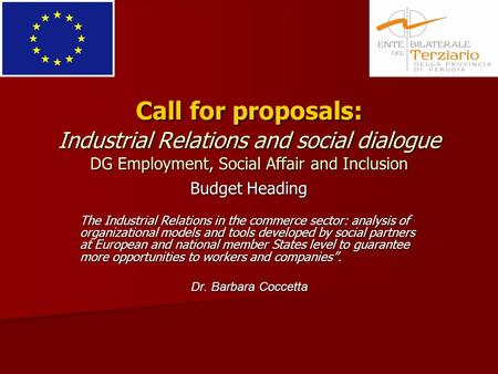 Call for proposals: Industrial Relations and social dialogue DG Employment, Social Affair and Inclusion Budget Heading The Industrial Relations in the.