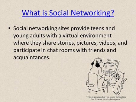 What is Social Networking? Social networking sites provide teens and young adults with a virtual environment where they share stories, pictures, videos,