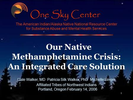 1 The American Indian/Alaska Native National Resource Center for Substance Abuse and Mental Health Services Our Native Methamphetamine Crisis: An Integrated.