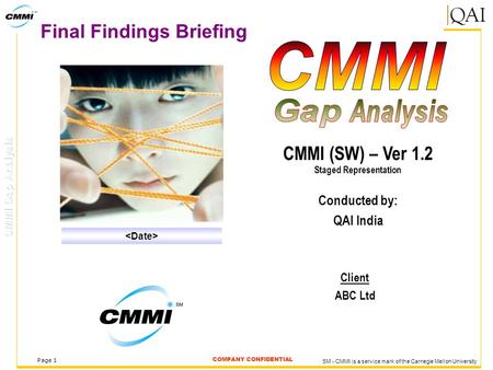 COMPANY CONFIDENTIAL Page 1 Final Findings Briefing Client ABC Ltd CMMI (SW) – Ver 1.2 Staged Representation Conducted by: QAI India SM - CMMI is a service.