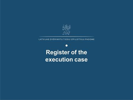 "Register of the execution case 1. Prehistory Development Executive register is elaborated in the framework of the project ""Register of the execution cases"""