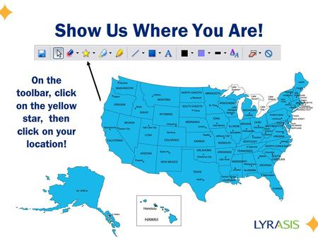 Show Us Where You Are! On the toolbar, click on the yellow star, then click on your location!