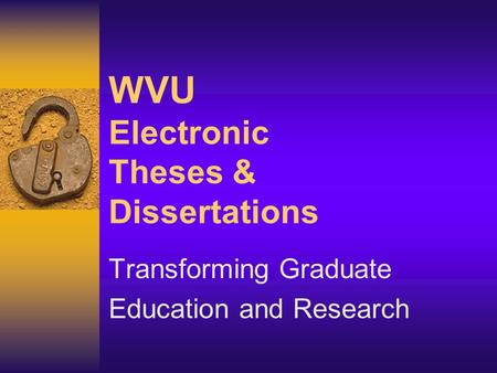 electronic thesis and desertation