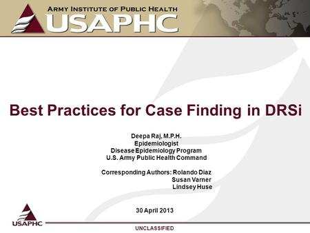 Best Practices for Case Finding in DRSi