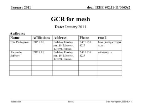 Doc.: IEEE 802.11-11/0065r2 Submission January 2011 Ivan Pustogarov, IITP RASSlide 1 GCR for mesh Date: January 2011 Authors: