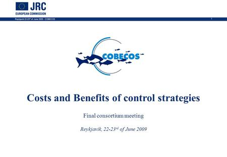 Reykjavik 22-23 rd of June 2009 - COBECOS 1 COBECOS SIXTH FRAMEWORK PROGRAMME PRIORITY 8.1 Costs and Benefits of control strategies Final consortium meeting.
