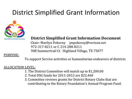 District Simplified Grant Information. APPROPRIATE IMPLEMENTATION (see References below for more details) 1. Satisfy real humanitarian needs or community.