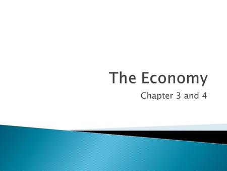 The Economy Chapter 3 and 4.