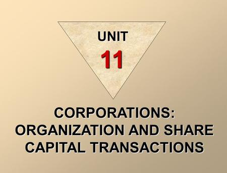 CORPORATIONS: ORGANIZATION AND SHARE CAPITAL TRANSACTIONS UNIT 11.
