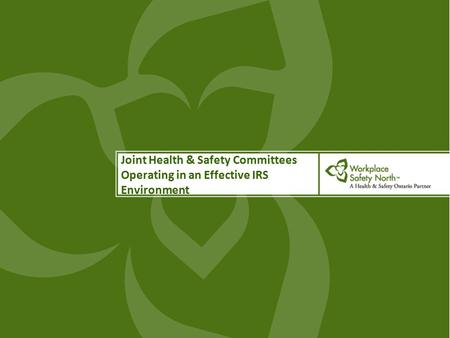 Joint Health & Safety Committees Operating in an Effective IRS Environment.