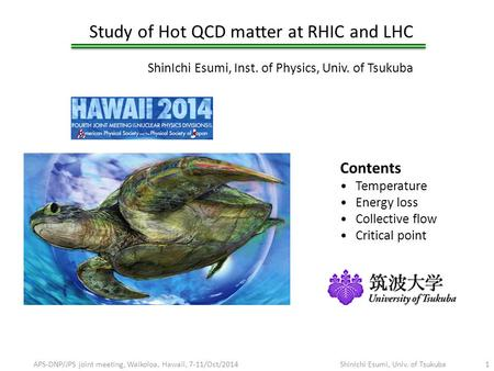 Study of Hot QCD matter at RHIC and LHC ShinIchi Esumi, Inst. of Physics, Univ. of Tsukuba APS-DNP/JPS joint meeting, Waikoloa, Hawaii, 7-11/Oct/2014ShinIchi.