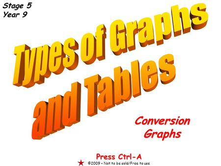 ConversionGraphs Press Ctrl-A ©2009 – Not to be sold/Free to use Stage 5 Year 9.