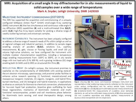 MRI: Acquisition of a small angle X-ray diffractometer for in situ measurements of liquid to solid samples over a wide range of temperatures Mark A. Snyder,