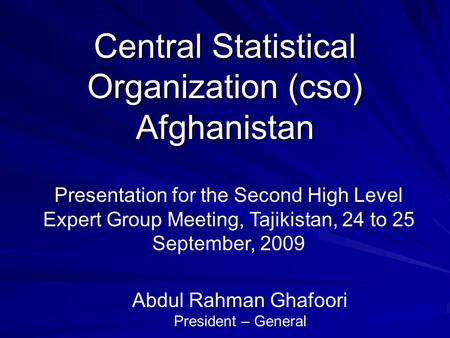 Central Statistical Organization (cso) Afghanistan