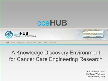 CceHUB A Knowledge Discovery Environment for Cancer Care Engineering Research Ann Christine Catlin HUBzero Workshop November 7, 2008.