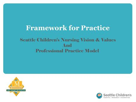 Framework for Practice Seattle Children's Nursing Vision & Values And Professional Practice Model.