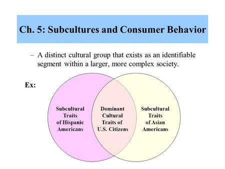 Ch. 5: Subcultures and Consumer Behavior –A distinct cultural group that exists as an identifiable segment within a larger, more complex society. Subcultural.