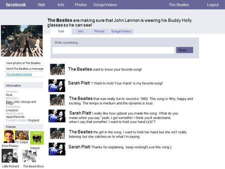 Facebook The Beatles are making sure that John Lennon is wearing his Buddy Holly glasses so he can see! WallInfoPhotosSongs/VideosThe BeatlesLogout View.