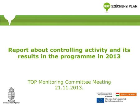 Report about controlling activity and its results in the programme in 2013 TOP Monitoring Committee Meeting 21.11.2013.