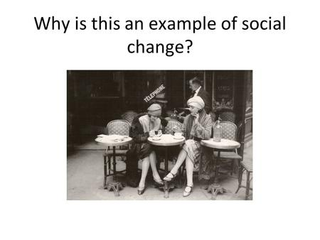 Why is this an example of social change?. Social Change Social change as a sociological term is defined as, alterations in basic structures of a social.