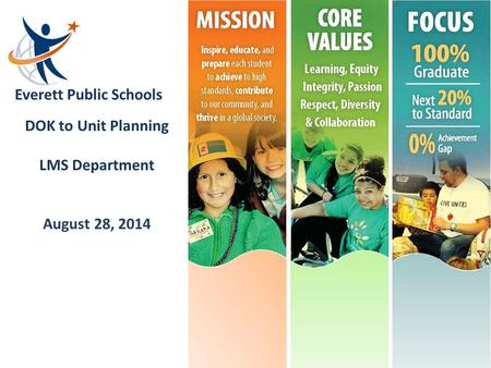 Everett Public Schools DOK to Unit Planning LMS Department August 28, 2014.