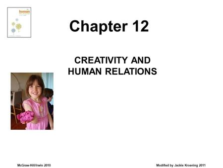 McGraw-Hill/Irwin 2010 Modified by Jackie Kroening 2011 CREATIVITY AND HUMAN RELATIONS Chapter 12.